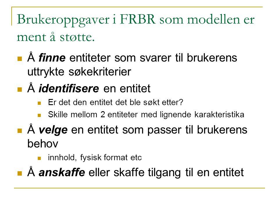 Brukeroppgaver i FRBR som modellen er ment å støtte. Å finne entiteter som svarer til brukerens uttrykte søkekriterier Å identifisere en entitet Er de