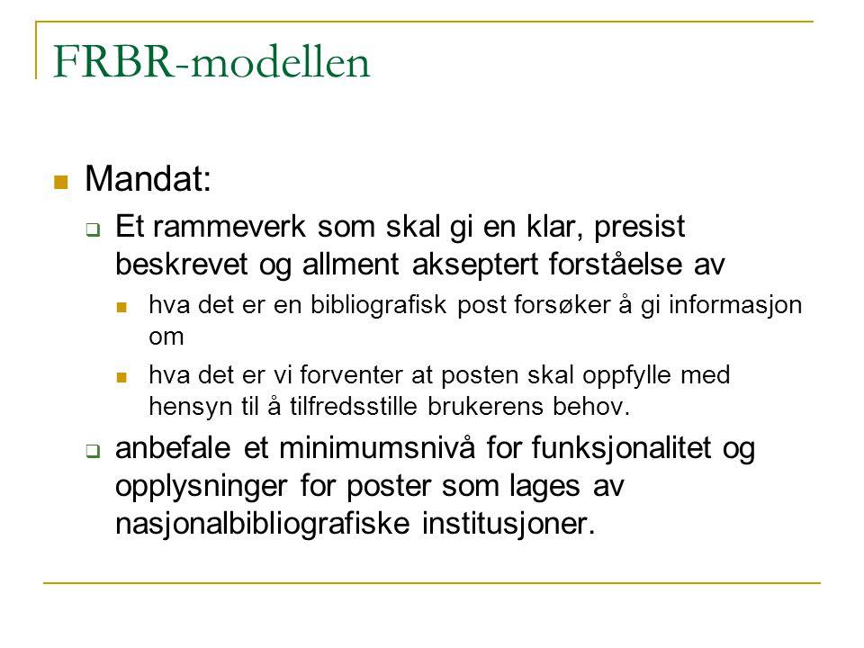 FRBR-modellen Mandat:  Et rammeverk som skal gi en klar, presist beskrevet og allment akseptert forståelse av hva det er en bibliografisk post forsøk
