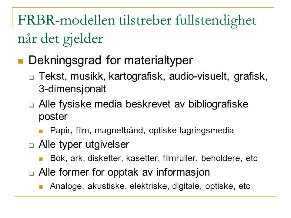 FRBR-modellen tilstreber fullstendighet når det gjelder Dekningsgrad for materialtyper  Tekst, musikk, kartografisk, audio-visuelt, grafisk, 3-dimens