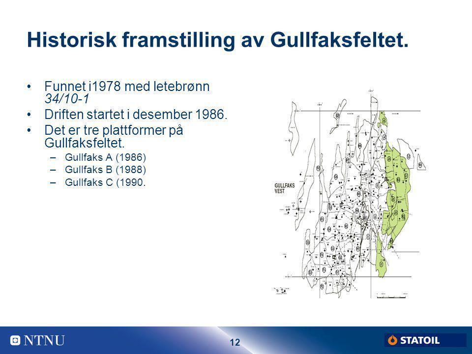 12 Historisk framstilling av Gullfaksfeltet. Funnet i1978 med letebrønn 34/10-1 Driften startet i desember 1986. Det er tre plattformer på Gullfaksfel