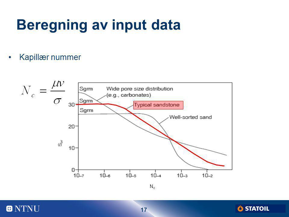 17 Beregning av input data Kapillær nummer S or NcNc