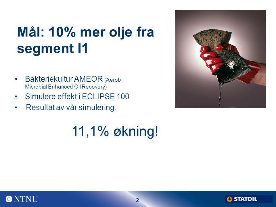 2 Mål: 10% mer olje fra segment I1 Bakteriekultur AMEOR (Aerob Microbial Enhanced Oil Recovery) Simulere effekt i ECLIPSE 100 11,1% økning! Resultat a