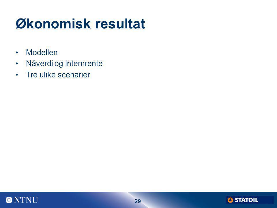 29 Økonomisk resultat Modellen Nåverdi og internrente Tre ulike scenarier