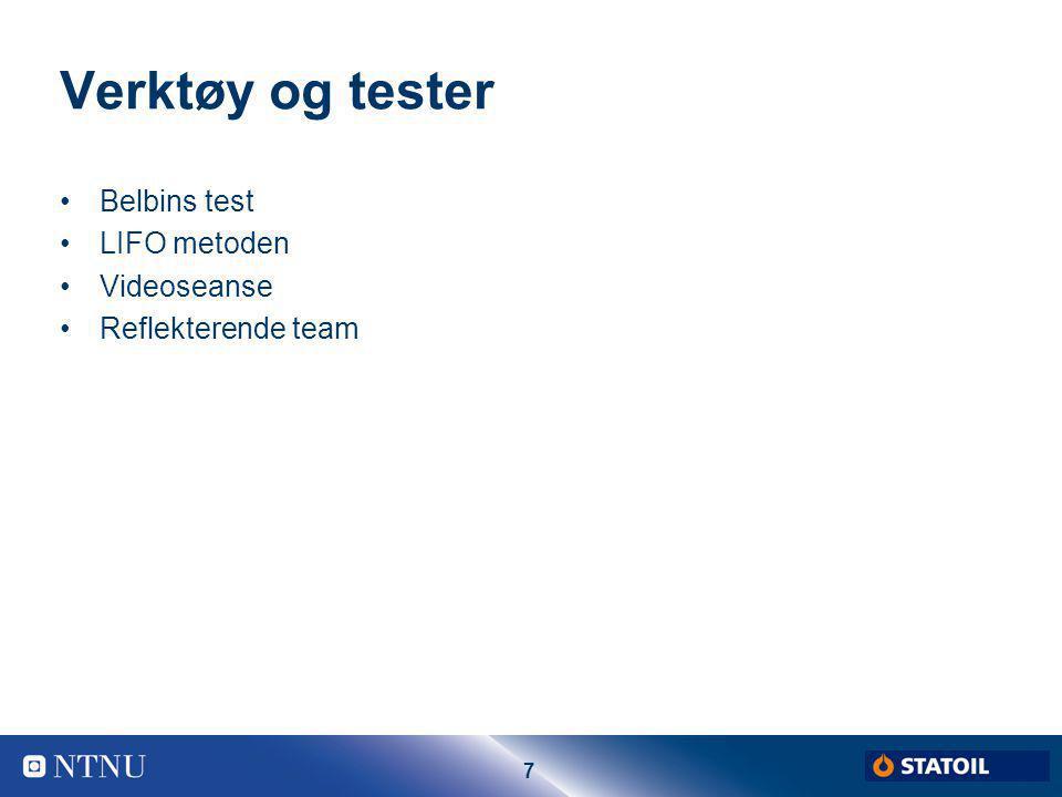 7 Verktøy og tester Belbins test LIFO metoden Videoseanse Reflekterende team
