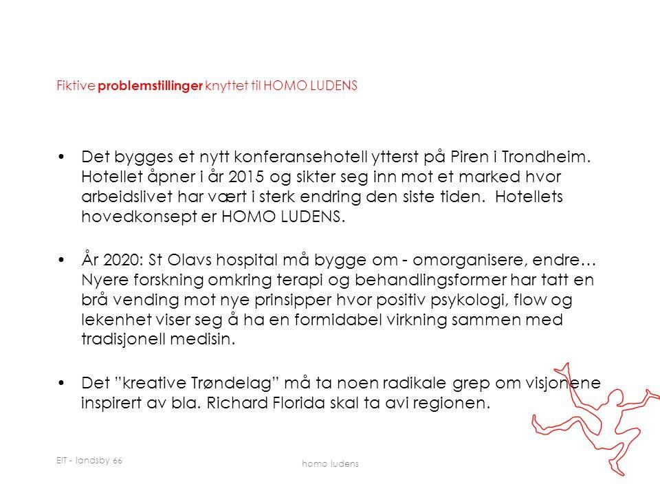 EIT - landsby 66 homo ludens Fiktive problemstillinger knyttet til HOMO LUDENS Det bygges et nytt konferansehotell ytterst på Piren i Trondheim.
