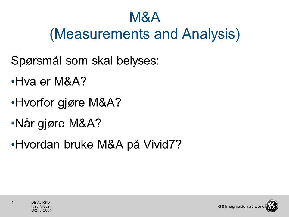 1 GEVU R&D Kjetil Viggen Oct 7, 2004 M&A (Measurements and Analysis) Spørsmål som skal belyses: Hva er M&A.