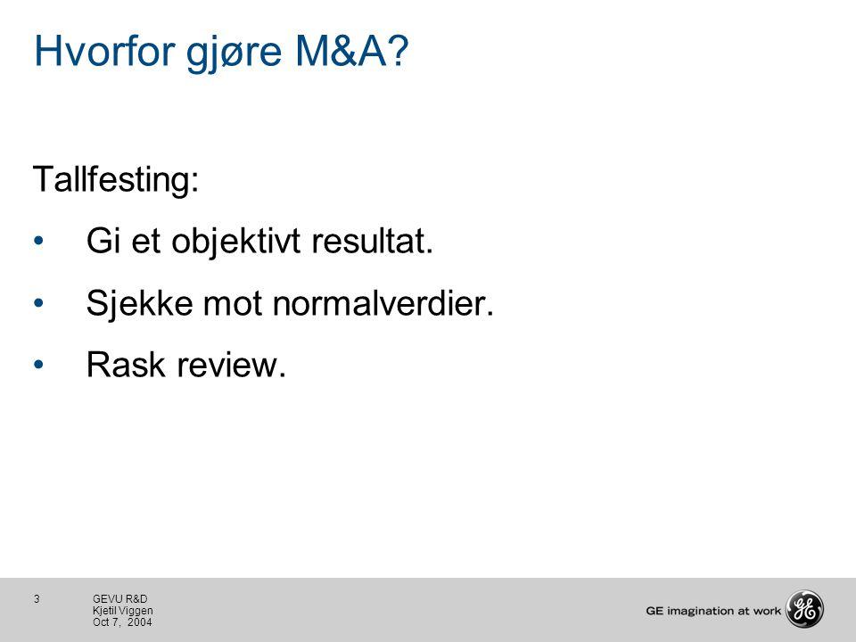 3 GEVU R&D Kjetil Viggen Oct 7, 2004 Hvorfor gjøre M&A.