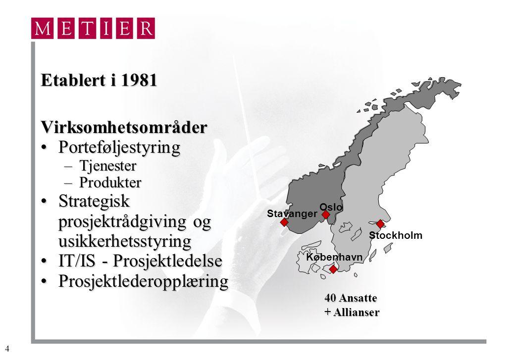 4 Etablert i 1981 Virksomhetsområder PorteføljestyringPorteføljestyring –Tjenester –Produkter Strategisk prosjektrådgiving og usikkerhetsstyringStrategisk prosjektrådgiving og usikkerhetsstyring IT/IS - ProsjektledelseIT/IS - Prosjektledelse ProsjektlederopplæringProsjektlederopplæring Oslo Stavanger Stockholm København 40 Ansatte + Allianser