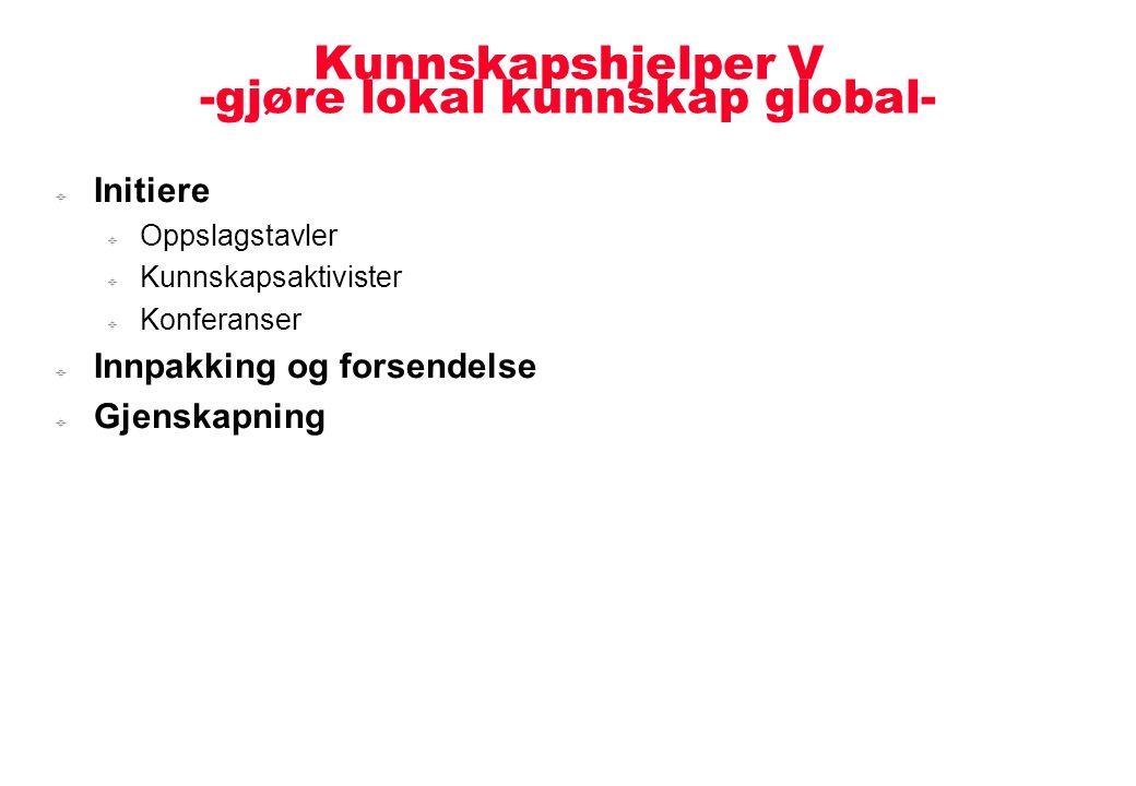 Kunnskapshjelper V -gjøre lokal kunnskap global-  Initiere  Oppslagstavler  Kunnskapsaktivister  Konferanser  Innpakking og forsendelse  Gjenska