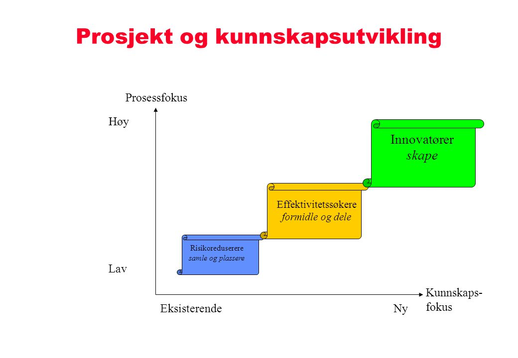 Prosjekt og kunnskapsutvikling Kunnskaps- fokus NyEksisterende Prosessfokus Høy Lav Risikoreduserere samle og plassere Effektivitetssøkere formidle og