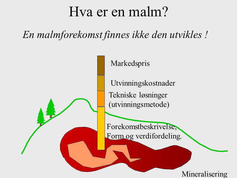 Hva er en malm? Mineralisering Forekomstbeskrivelse, Form og verdifordeling. Tekniske løsninger (utvinningsmetode) UtvinningskostnaderMarkedspris En m