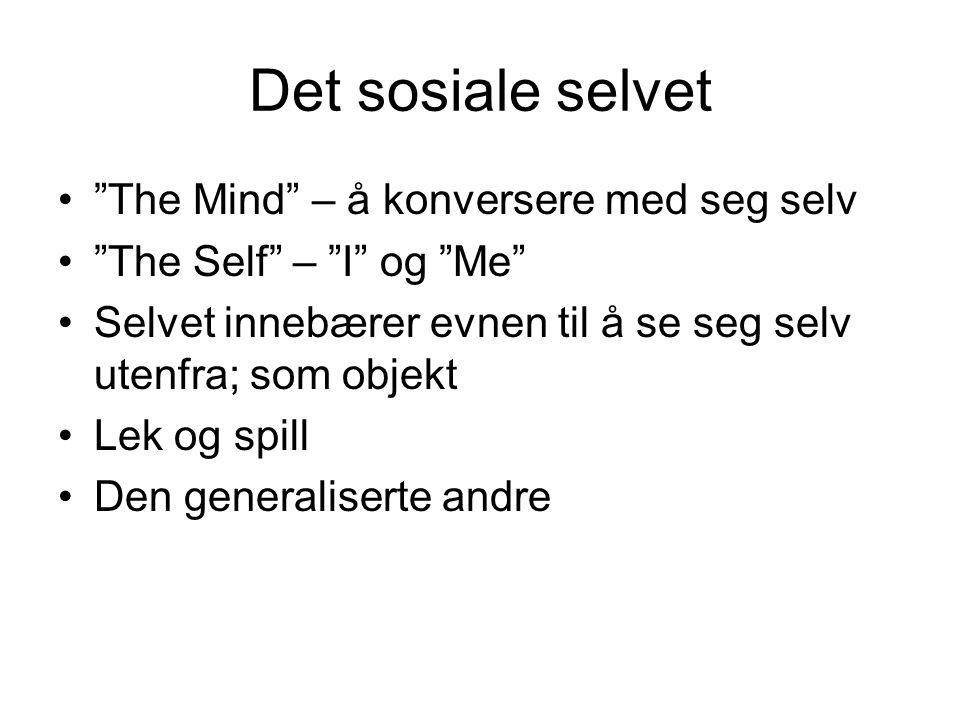 Det sosiale selvet The Mind – å konversere med seg selv The Self – I og Me Selvet innebærer evnen til å se seg selv utenfra; som objekt Lek og spill Den generaliserte andre