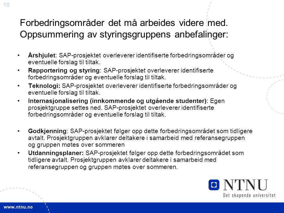 10 Forbedringsområder det må arbeides videre med. Oppsummering av styringsgruppens anbefalinger: Årshjulet: SAP-prosjektet overleverer identifiserte f