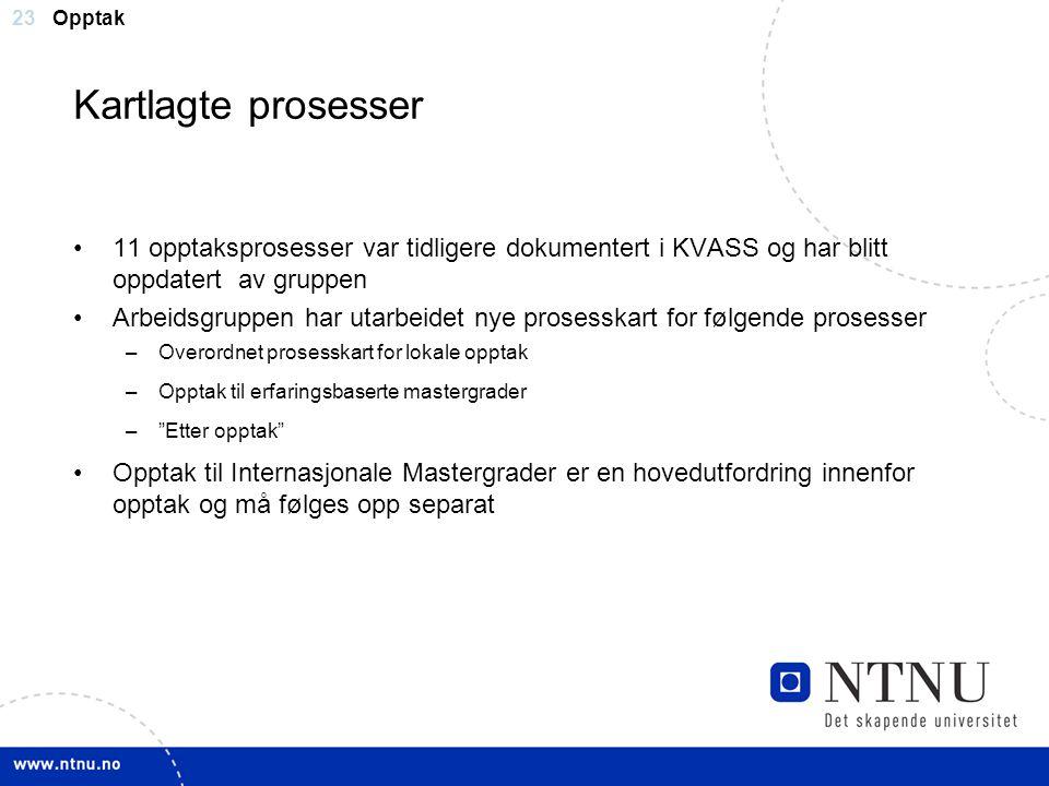 23 Kartlagte prosesser 11 opptaksprosesser var tidligere dokumentert i KVASS og har blitt oppdatert av gruppen Arbeidsgruppen har utarbeidet nye prose