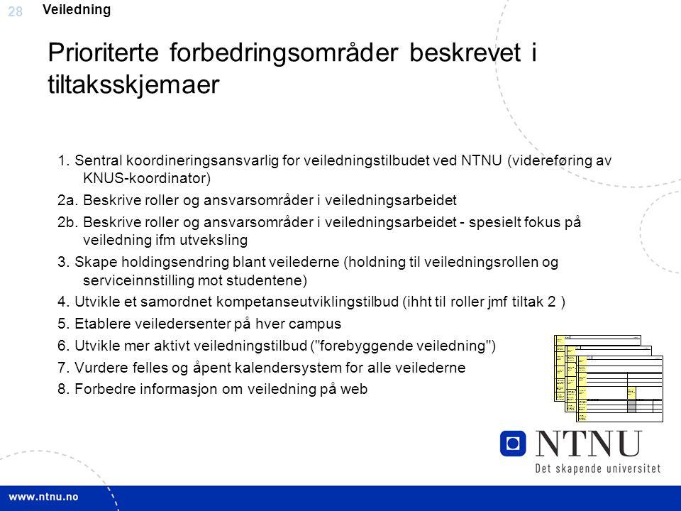 28 Prioriterte forbedringsområder beskrevet i tiltaksskjemaer 1. Sentral koordineringsansvarlig for veiledningstilbudet ved NTNU (videreføring av KNUS