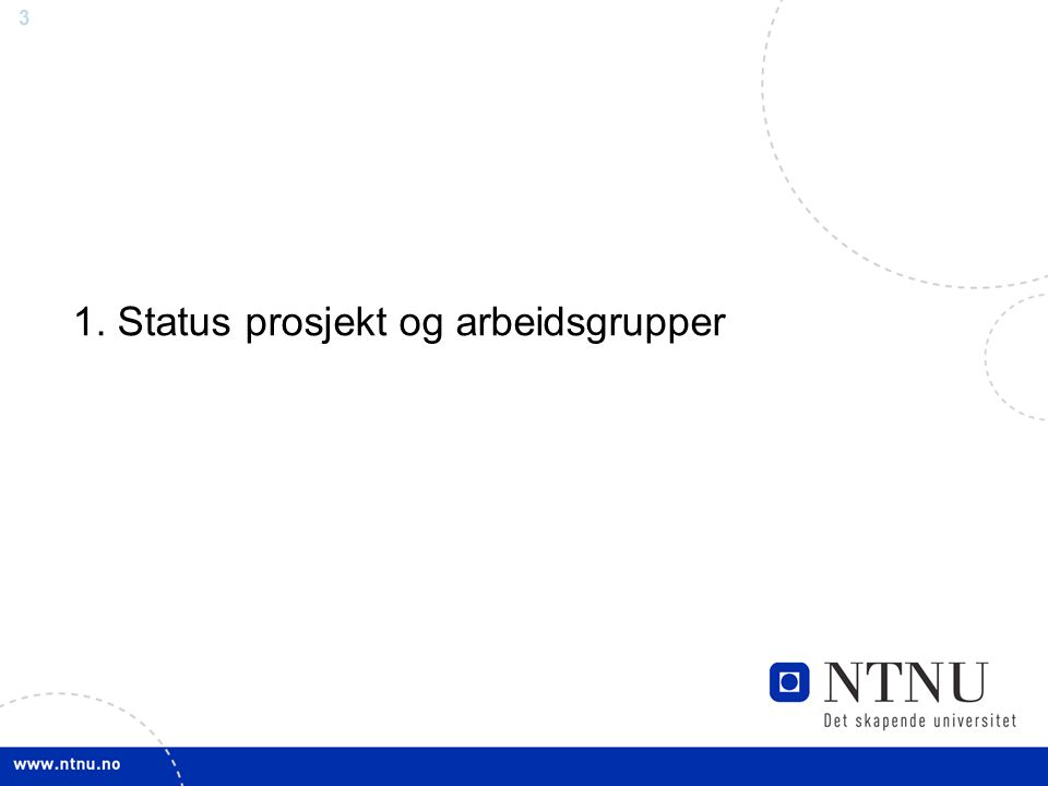 3 1. Status prosjekt og arbeidsgrupper