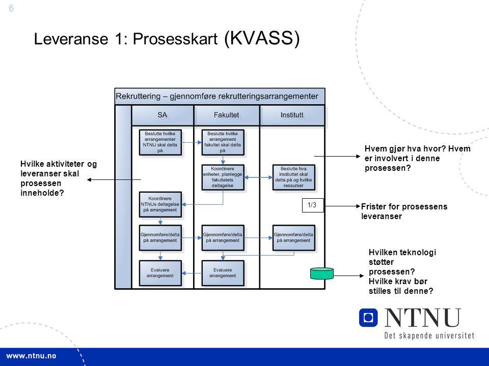 6 Leveranse 1: Prosesskart (KVASS) Hvem gjør hva hvor? Hvem er involvert i denne prosessen? Hvilken teknologi støtter prosessen? Hvilke krav bør still