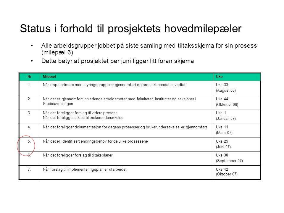Status i forhold til prosjektets hovedmilepæler NrMilepælUke 1.Når oppstartmøte med styringsgruppa er gjennomført og prosjektmandat er vedtattUke 33 (