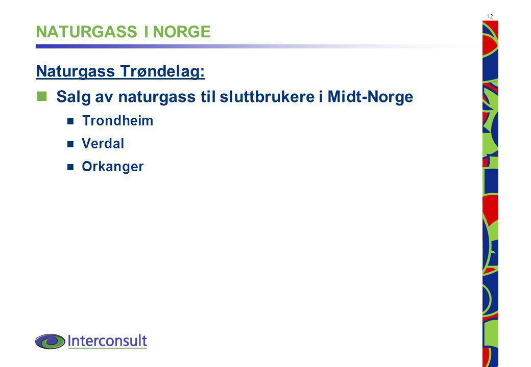 12 NATURGASS I NORGE Naturgass Trøndelag: Salg av naturgass til sluttbrukere i Midt-Norge Trondheim Verdal Orkanger