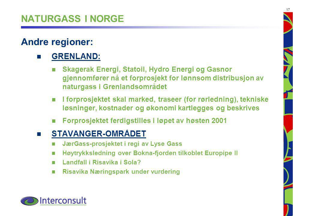 17 NATURGASS I NORGE Andre regioner: GRENLAND: Skagerak Energi, Statoil, Hydro Energi og Gasnor gjennomfører nå et forprosjekt for lønnsom distribusjon av naturgass i Grenlandsområdet I forprosjektet skal marked, traseer (for rørledning), tekniske løsninger, kostnader og økonomi kartlegges og beskrives Forprosjektet ferdigstilles i løpet av høsten 2001 STAVANGER-OMRÅDET JærGass-prosjektet i regi av Lyse Gass Høytrykksledning over Bokna-fjorden tilkoblet Europipe II Landfall i Risavika i Sola.