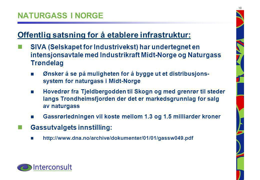 19 NATURGASS I NORGE Offentlig satsning for å etablere infrastruktur: SIVA (Selskapet for Industrivekst) har undertegnet en intensjonsavtale med Industrikraft Midt-Norge og Naturgass Trøndelag Ønsker å se på muligheten for å bygge ut et distribusjons- system for naturgass i Midt-Norge Hovedrør fra Tjeldbergodden til Skogn og med grenrør til steder langs Trondheimsfjorden der det er markedsgrunnlag for salg av naturgass Gassrørledningen vil koste mellom 1.3 og 1.5 milliarder kroner Gassutvalgets innstilling: http://www.dna.no/archive/dokumenter/01/01/gassw049.pdf