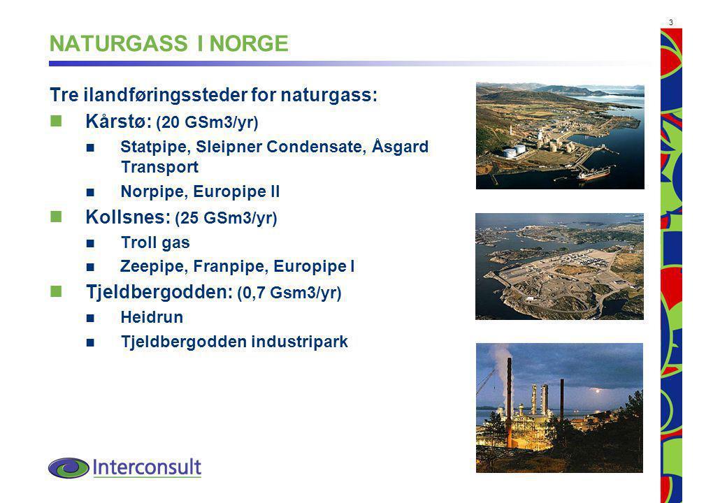 3 NATURGASS I NORGE Tre ilandføringssteder for naturgass: Kårstø: (20 GSm3/yr) Statpipe, Sleipner Condensate, Åsgard Transport Norpipe, Europipe II Kollsnes: (25 GSm3/yr) Troll gas Zeepipe, Franpipe, Europipe I Tjeldbergodden: (0,7 Gsm3/yr) Heidrun Tjeldbergodden industripark