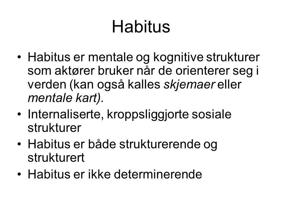 Habitus Habitus er mentale og kognitive strukturer som aktører bruker når de orienterer seg i verden (kan også kalles skjemaer eller mentale kart). In