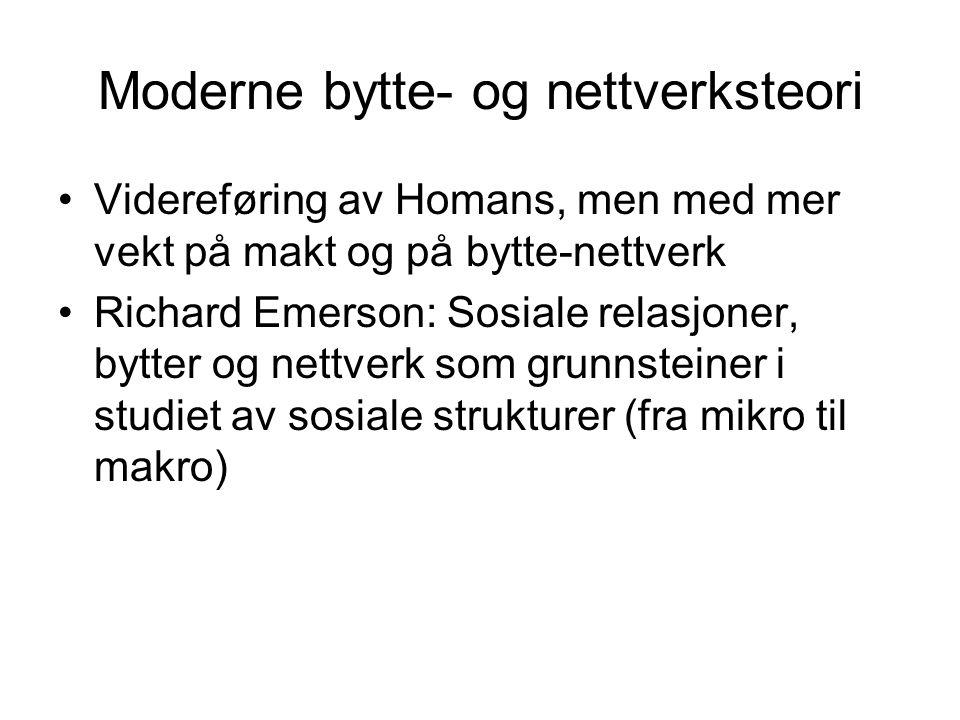 Moderne bytte- og nettverksteori Videreføring av Homans, men med mer vekt på makt og på bytte-nettverk Richard Emerson: Sosiale relasjoner, bytter og