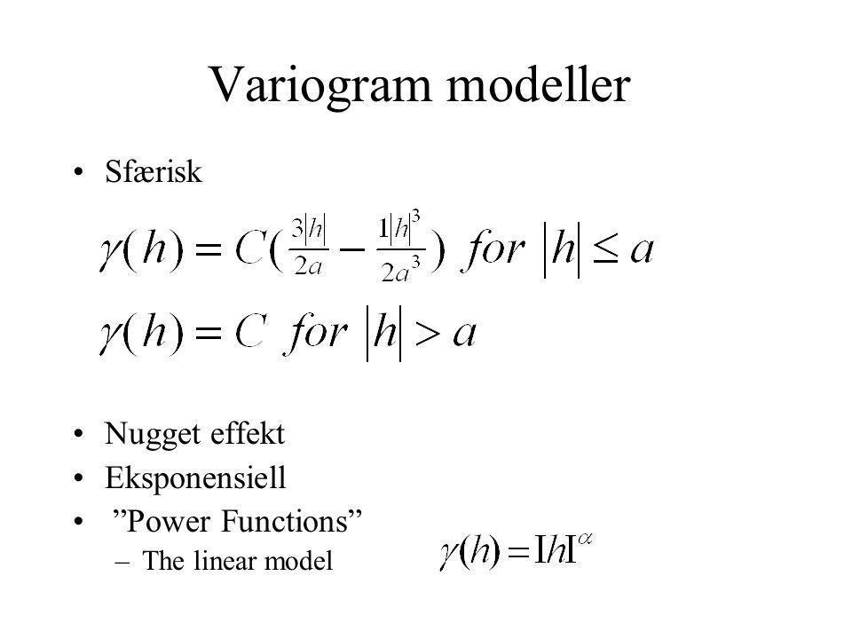 """Variogram modeller Sfærisk Nugget effekt Eksponensiell """"Power Functions"""" –The linear model"""