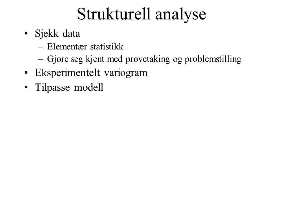 Strukturell analyse Sjekk data –Elementær statistikk –Gjøre seg kjent med prøvetaking og problemstilling Eksperimentelt variogram Tilpasse modell