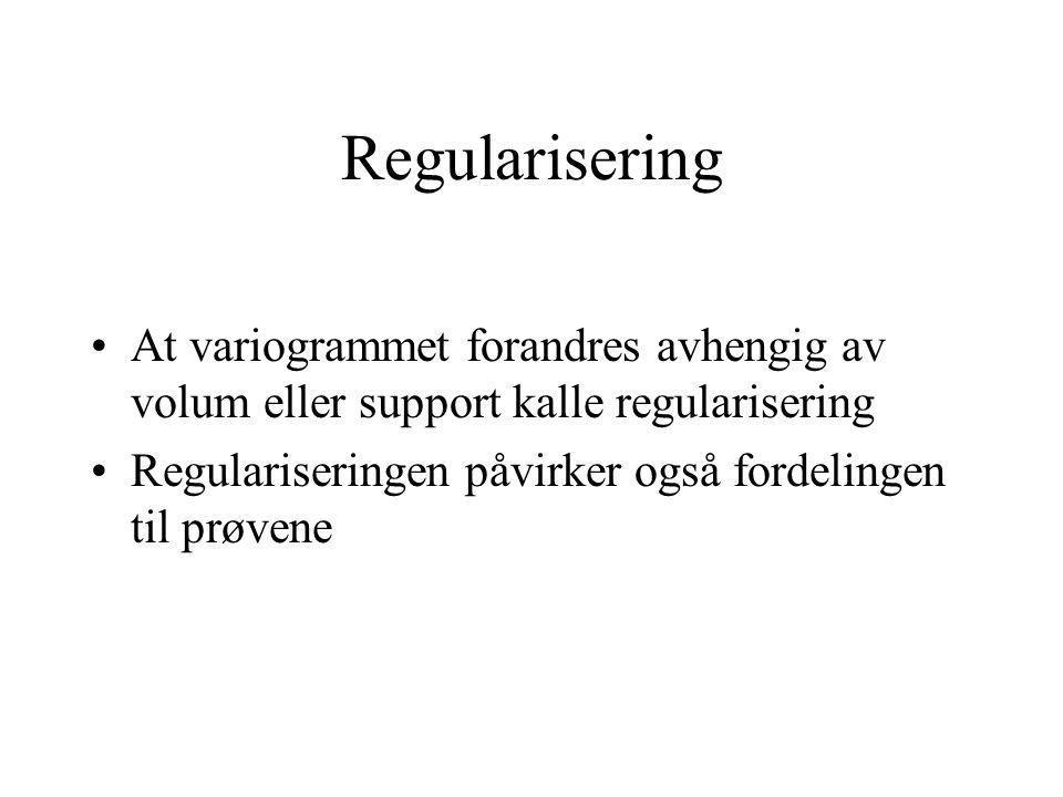 Regularisering At variogrammet forandres avhengig av volum eller support kalle regularisering Regulariseringen påvirker også fordelingen til prøvene