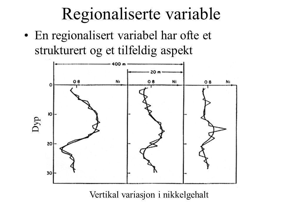 Regionaliserte variable En regionalisert variabel har ofte et strukturert og et tilfeldig aspekt Dyp Vertikal variasjon i nikkelgehalt