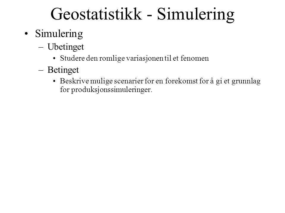 Geostatistikk - Simulering Simulering –Ubetinget Studere den romlige variasjonen til et fenomen –Betinget Beskrive mulige scenarier for en forekomst f