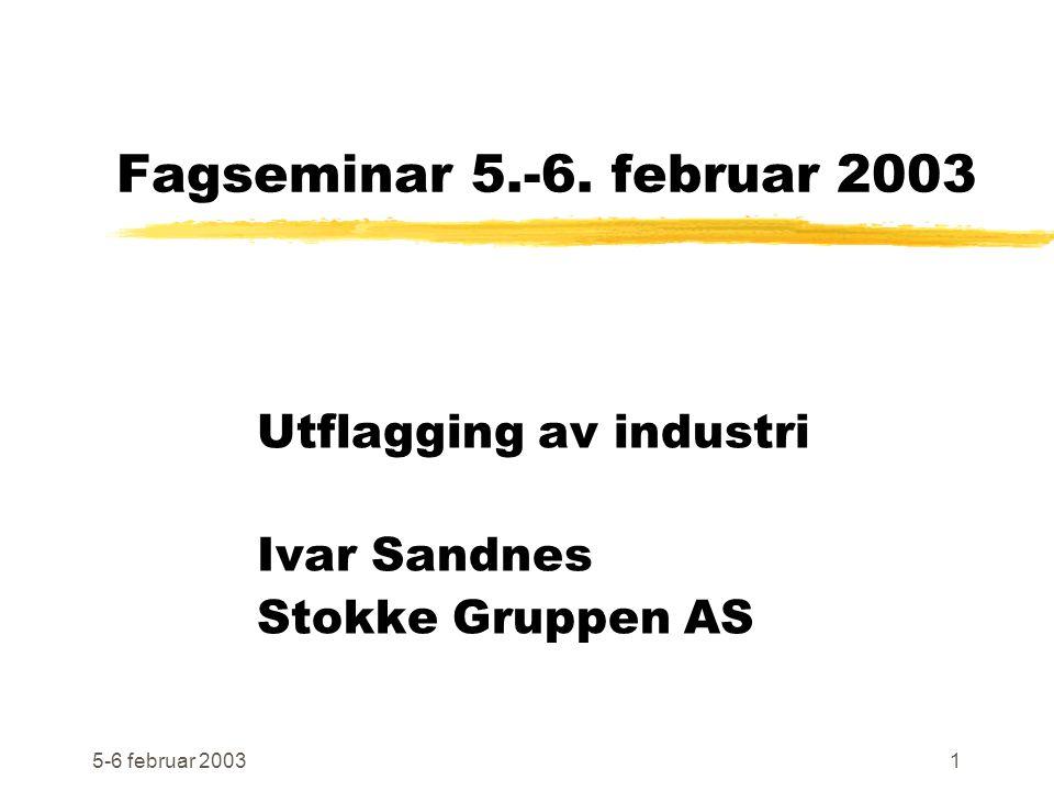5-6 februar 20031 Fagseminar 5.-6. februar 2003 Utflagging av industri Ivar Sandnes Stokke Gruppen AS
