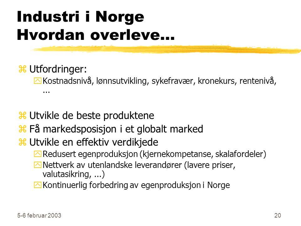 5-6 februar 200320 Industri i Norge Hvordan overleve... zUtfordringer: yKostnadsnivå, lønnsutvikling, sykefravær, kronekurs, rentenivå,... zUtvikle de
