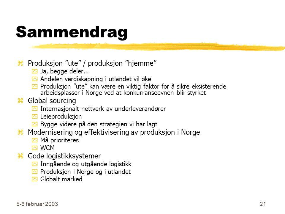 """5-6 februar 200321 Sammendrag zProduksjon """"ute"""" / produksjon """"hjemme"""" yJa, begge deler... yAndelen verdiskapning i utlandet vil øke yProduksjon """"ute"""""""
