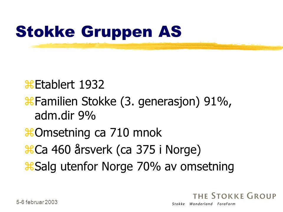 3 Stokke Gruppen AS zEtablert 1932 zFamilien Stokke (3. generasjon) 91%, adm.dir 9% zOmsetning ca 710 mnok zCa 460 årsverk (ca 375 i Norge) zSalg uten