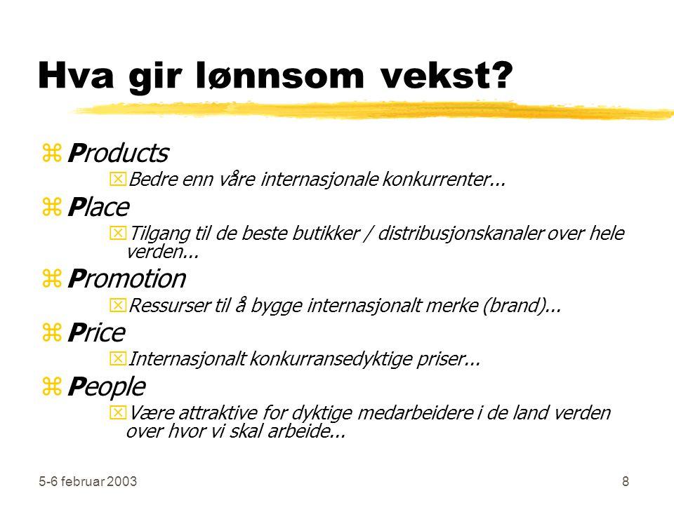 5-6 februar 20038 Hva gir lønnsom vekst? zProducts xBedre enn våre internasjonale konkurrenter... zPlace xTilgang til de beste butikker / distribusjon