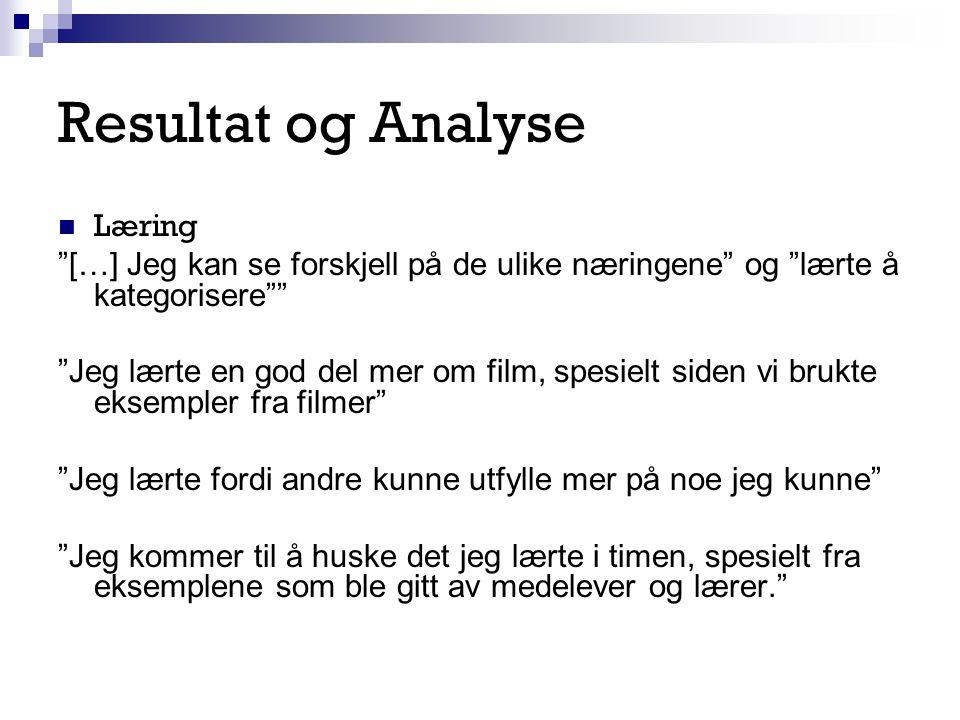 """Resultat og Analyse Læring """"[…] Jeg kan se forskjell på de ulike næringene"""" og """"lærte å kategorisere"""""""" """"Jeg lærte en god del mer om film, spesielt sid"""