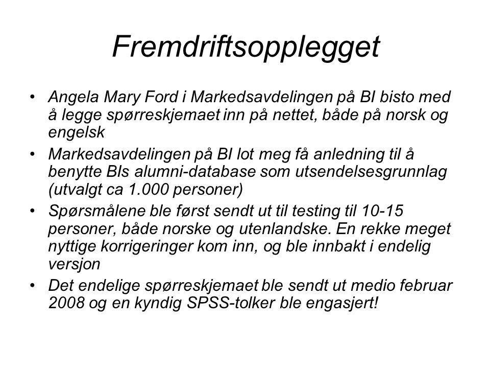 Fremdriftsopplegget Angela Mary Ford i Markedsavdelingen på BI bisto med å legge spørreskjemaet inn på nettet, både på norsk og engelsk Markedsavdelin