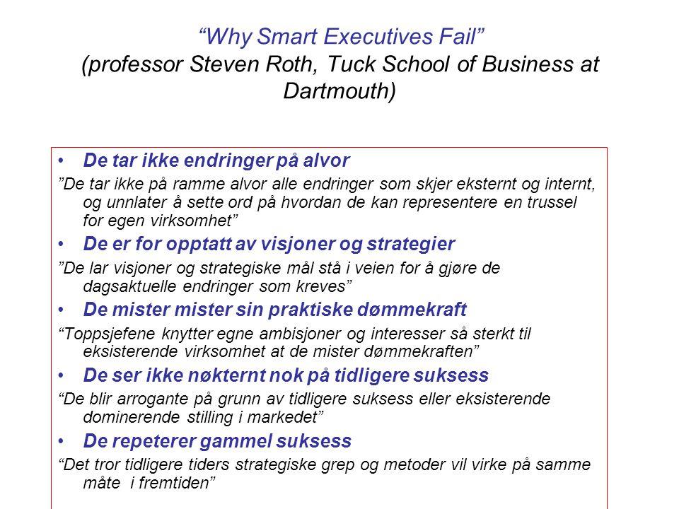 """""""Why Smart Executives Fail"""" (professor Steven Roth, Tuck School of Business at Dartmouth) De tar ikke endringer på alvor """"De tar ikke på ramme alvor a"""