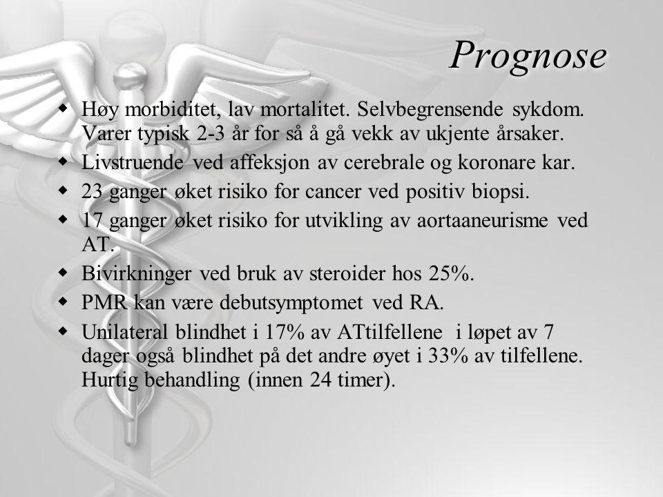 Prognose  Høy morbiditet, lav mortalitet. Selvbegrensende sykdom. Varer typisk 2-3 år for så å gå vekk av ukjente årsaker.  Livstruende ved affeksjo
