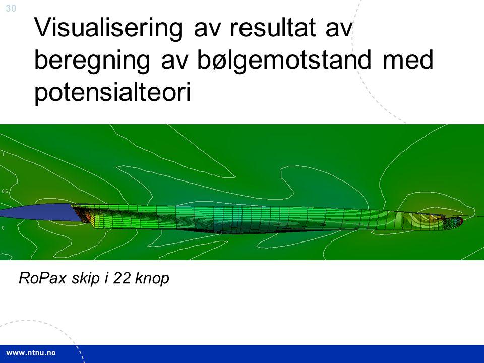 30 Visualisering av resultat av beregning av bølgemotstand med potensialteori RoPax skip i 22 knop