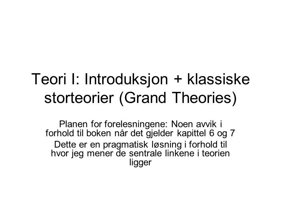 Teori I: Introduksjon + klassiske storteorier (Grand Theories) Planen for forelesningene: Noen avvik i forhold til boken når det gjelder kapittel 6 og