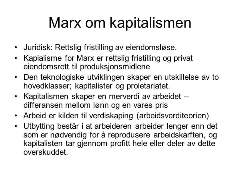 Marx om kapitalismen Juridisk: Rettslig fristilling av eiendomsløse. Kapialisme for Marx er rettslig fristilling og privat eiendomsrett til produksjon