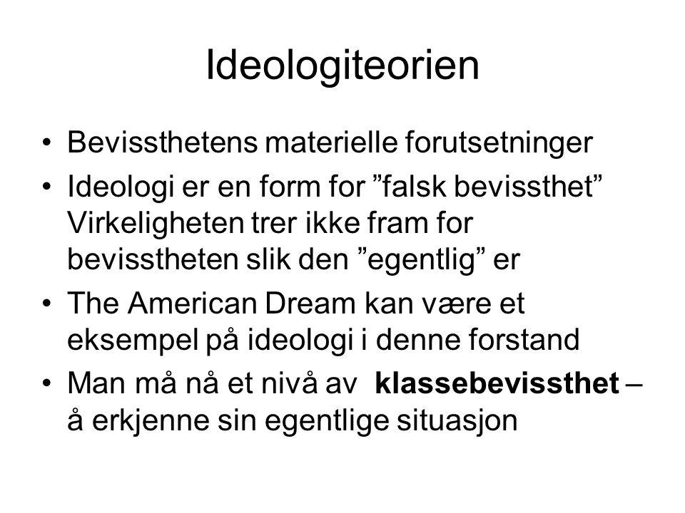 """Ideologiteorien Bevissthetens materielle forutsetninger Ideologi er en form for """"falsk bevissthet"""" Virkeligheten trer ikke fram for bevisstheten slik"""