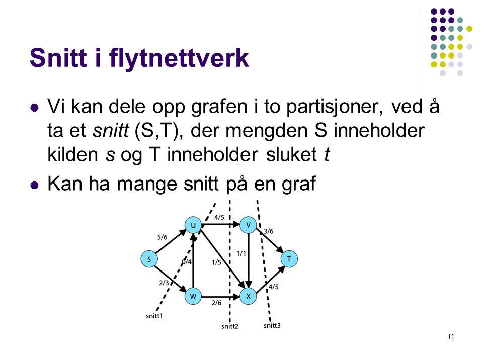 Snitt i flytnettverk Vi kan dele opp grafen i to partisjoner, ved å ta et snitt (S,T), der mengden S inneholder kilden s og T inneholder sluket t Kan