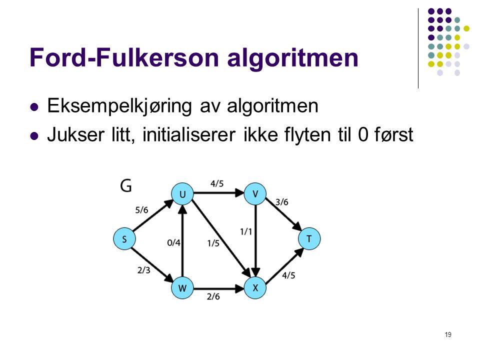 Ford-Fulkerson algoritmen Eksempelkjøring av algoritmen Jukser litt, initialiserer ikke flyten til 0 først 19