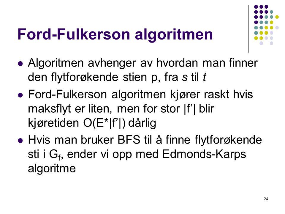 Ford-Fulkerson algoritmen 24 Algoritmen avhenger av hvordan man finner den flytforøkende stien p, fra s til t Ford-Fulkerson algoritmen kjører raskt h