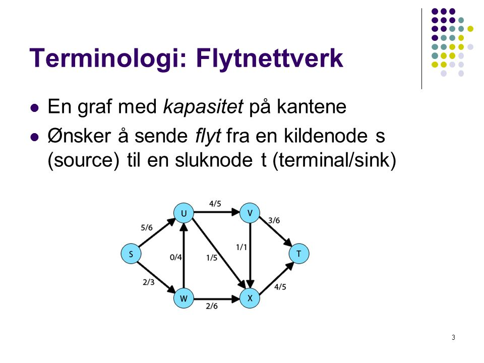Terminologi: Flytnettverk En graf med kapasitet på kantene Ønsker å sende flyt fra en kildenode s (source) til en sluknode t (terminal/sink) 3